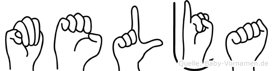 Melja im Fingeralphabet der Deutschen Gebärdensprache