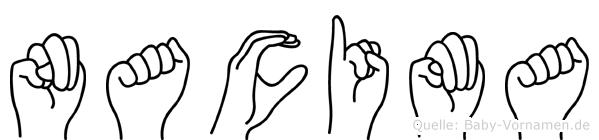 Nacima im Fingeralphabet der Deutschen Gebärdensprache