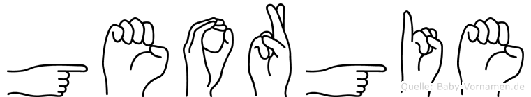 Georgie im Fingeralphabet der Deutschen Gebärdensprache