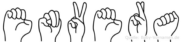 Envera im Fingeralphabet der Deutschen Gebärdensprache