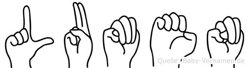 Lumen im Fingeralphabet der Deutschen Gebärdensprache