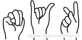 Nyk im Fingeralphabet der Deutschen Gebärdensprache