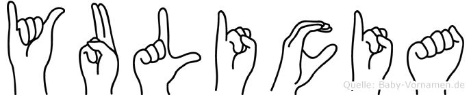 Yulicia im Fingeralphabet der Deutschen Gebärdensprache