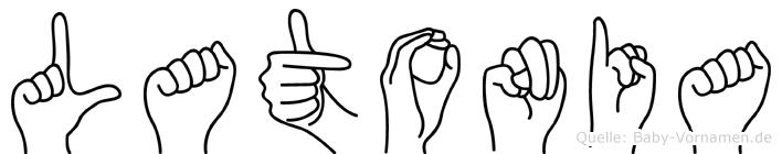 Latonia im Fingeralphabet der Deutschen Gebärdensprache