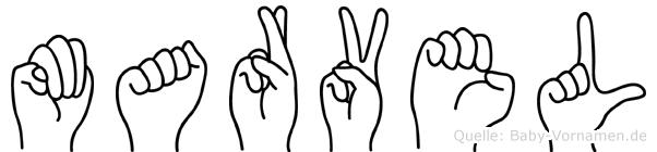 Marvel im Fingeralphabet der Deutschen Gebärdensprache
