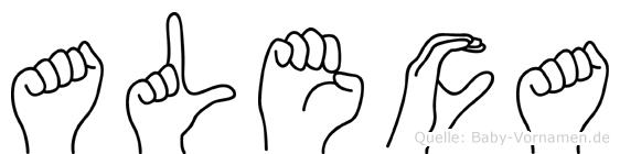 Aleca in Fingersprache für Gehörlose