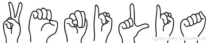 Venilia im Fingeralphabet der Deutschen Gebärdensprache