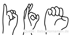 Ife im Fingeralphabet der Deutschen Gebärdensprache