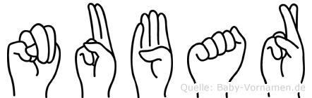 Nubar im Fingeralphabet der Deutschen Gebärdensprache