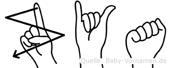 Zya im Fingeralphabet der Deutschen Gebärdensprache