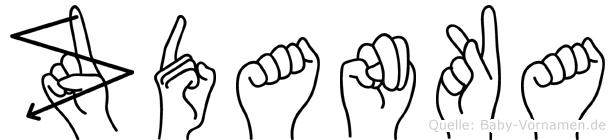 Zdanka im Fingeralphabet der Deutschen Gebärdensprache