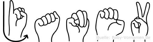 Janev im Fingeralphabet der Deutschen Gebärdensprache