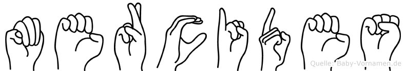 Mercides im Fingeralphabet der Deutschen Gebärdensprache