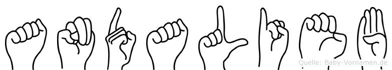 Andalieb im Fingeralphabet der Deutschen Gebärdensprache