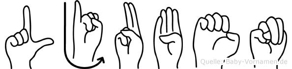 Ljuben im Fingeralphabet der Deutschen Gebärdensprache