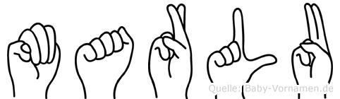 Marlu im Fingeralphabet der Deutschen Gebärdensprache