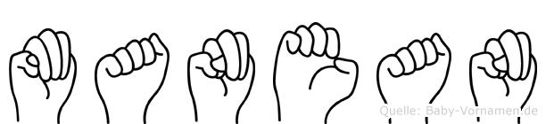 Manean in Fingersprache für Gehörlose
