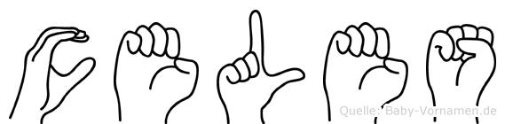 Celes im Fingeralphabet der Deutschen Gebärdensprache