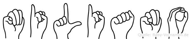 Miliano im Fingeralphabet der Deutschen Gebärdensprache