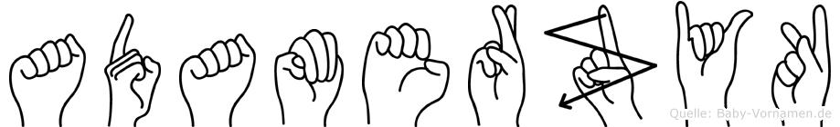 Adamerzyk im Fingeralphabet der Deutschen Gebärdensprache