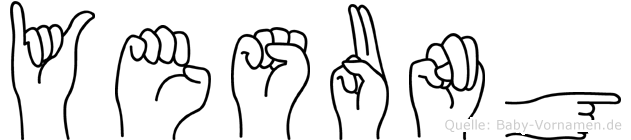 Yesung im Fingeralphabet der Deutschen Gebärdensprache