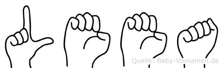 Leea im Fingeralphabet der Deutschen Gebärdensprache
