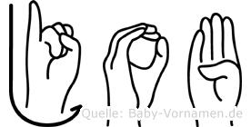 Job im Fingeralphabet der Deutschen Gebärdensprache