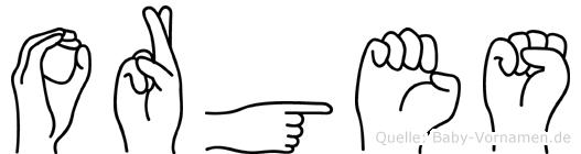 Orges im Fingeralphabet der Deutschen Gebärdensprache