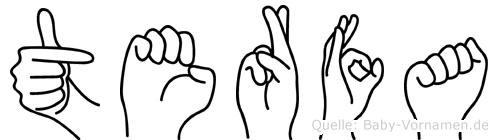 Terfa im Fingeralphabet der Deutschen Gebärdensprache