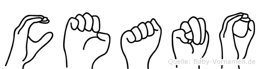 Ceano im Fingeralphabet der Deutschen Gebärdensprache