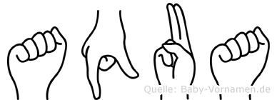 Aqua im Fingeralphabet der Deutschen Gebärdensprache