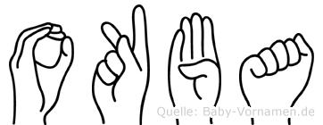 Okba im Fingeralphabet der Deutschen Gebärdensprache