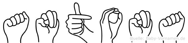 Antona im Fingeralphabet der Deutschen Gebärdensprache
