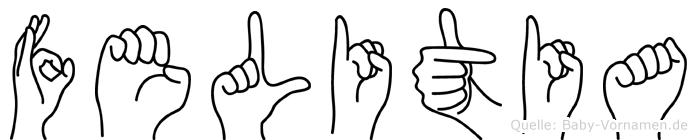 Felitia im Fingeralphabet der Deutschen Gebärdensprache