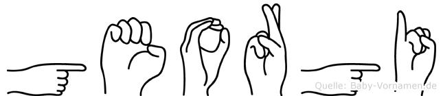 Georgi im Fingeralphabet der Deutschen Gebärdensprache