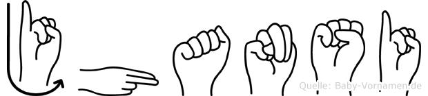 Jhansi im Fingeralphabet der Deutschen Gebärdensprache