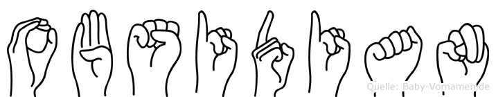 Obsidian im Fingeralphabet der Deutschen Gebärdensprache