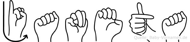 Janeta im Fingeralphabet der Deutschen Gebärdensprache
