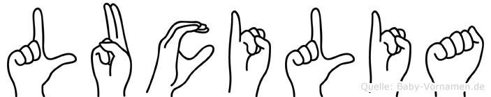Lucilia im Fingeralphabet der Deutschen Gebärdensprache