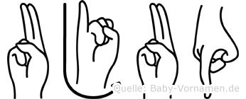 Ujup in Fingersprache für Gehörlose