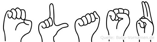 Elasu im Fingeralphabet der Deutschen Gebärdensprache
