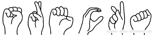 Srecka im Fingeralphabet der Deutschen Gebärdensprache
