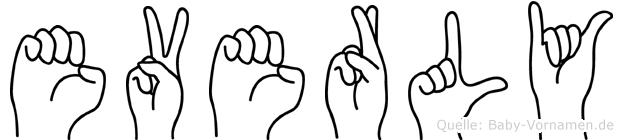 Everly im Fingeralphabet der Deutschen Gebärdensprache
