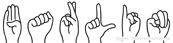 Barlin im Fingeralphabet der Deutschen Gebärdensprache