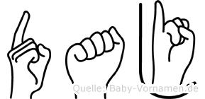 Daj im Fingeralphabet der Deutschen Gebärdensprache