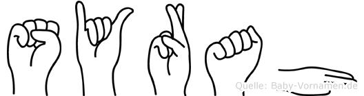 Syrah im Fingeralphabet der Deutschen Gebärdensprache