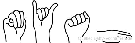 Myah in Fingersprache für Gehörlose