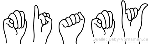 Miamy im Fingeralphabet der Deutschen Gebärdensprache