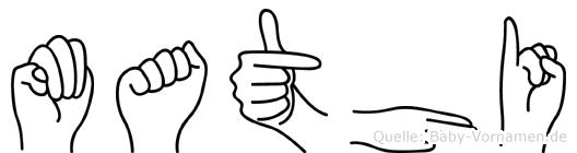 Mathi im Fingeralphabet der Deutschen Gebärdensprache