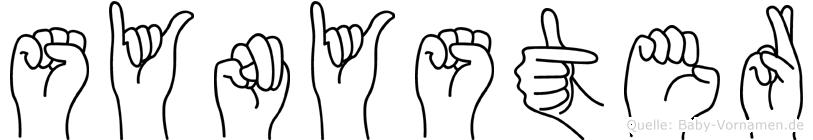 Synyster im Fingeralphabet der Deutschen Gebärdensprache